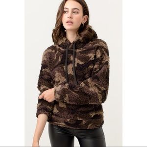 Camouflage Sherpa Pullover Hoodie